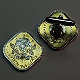 Bahamas Hibiscus - 2 Toned(Uniquely Hand Done) Silver on Gold coin cufflinks for men - men's jewelry men's accessories for him groomsmen
