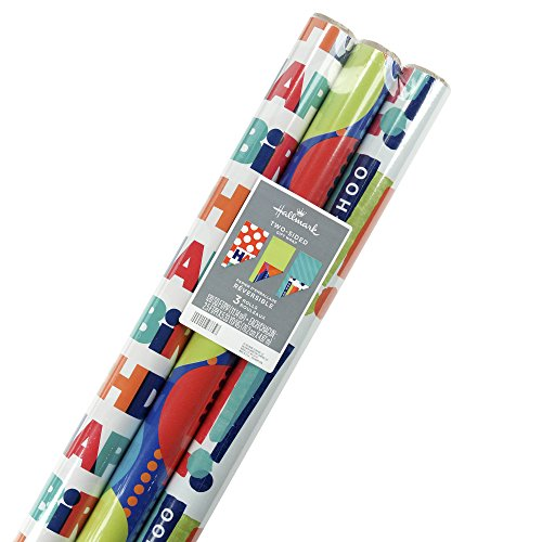 Hallmark Reversible Birthday Wrapping Paper, Balloons (Pack of 3, 120 sq. ft. ttl.)