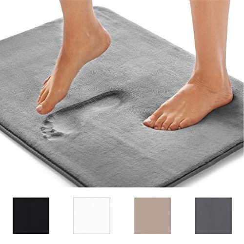 GORILLA GRIP Original Thick Memory Foam Bath Rug (24×17) Cushioned, Extra Soft Floor Rug Mats, Absorbent Bathroom Mat, Machine Wash + Dry, Luxury Plush Comfortable Carpet for Bath Room (Dark Gray)