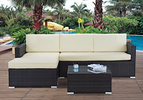 Divano Roma Furniture Modern Outdoor Garden, Sectional Sofa Set with Coffee Table - Wicker Sofa Furniture Set (Brown/Beige)