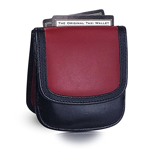 TAXI WALLET Red/Black Small Folding LEATHER Minimalist Card Coin Front Pocket Wallet for Men & Women