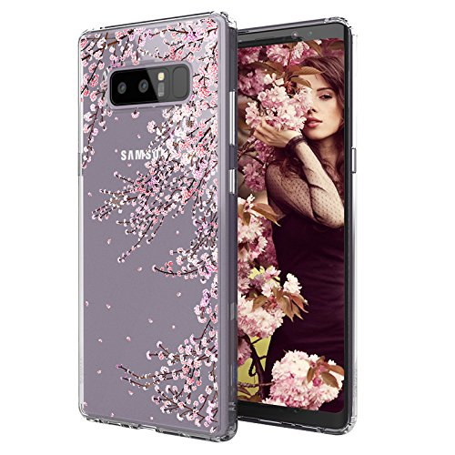 - MOSNOVO Case for Galaxy Note 8, MOSNOVO Cherry Blossom Floral Flower Printed Clear Design Transparent Plastic Hard Slim Case with TPU Bumper Protective Case Cover for Samsung Galaxy Note 8