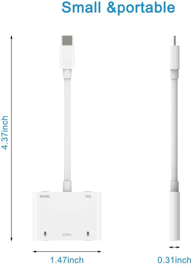 USB C to 3.5 mm Earphone Jack Splitter USB C Sound Card Audio Charging Adapter External Stereo Sound Card Headphone Speaker with Dual Microphone Jack Support Voice Change for Computers,Mobile Phones