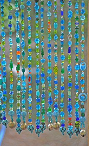 Blue, green, turquoise unique beaded curtain ()
