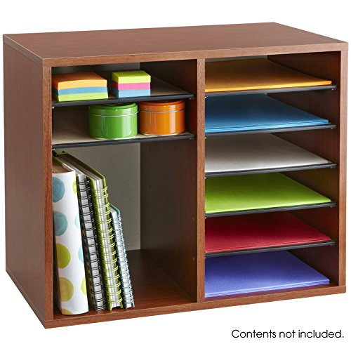 Safco Products 9420CY Wood Adjustable Literature Organizer, 12 Compartment, Cherry by Safco Products (Image #2)