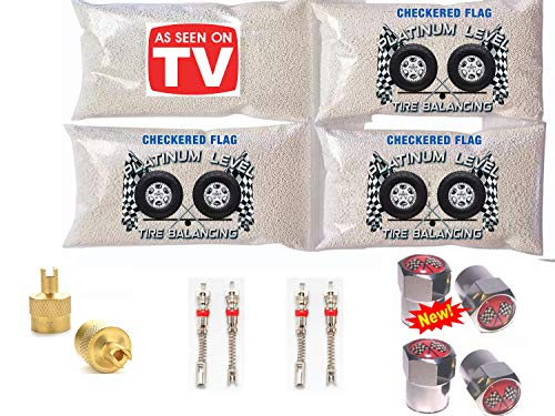 4-5oz Checkered Flag Tire Balance Beads, Zr Compound Tire Balancing Beads with Free Valve Stem cores & Valve Stem Caps, 1 Gold core Tool