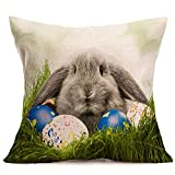 Kimloog Happy Easter Bunny With Wreath Throw Pillow Case Sofa Bed Living Room Decoration Linen Festival Cushion Covers (C)