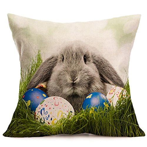 Suede Floral Pillow (Kimloog Happy Easter Bunny With Wreath Throw Pillow Case Sofa Bed Living Room Decoration Linen Festival Cushion Covers (C))