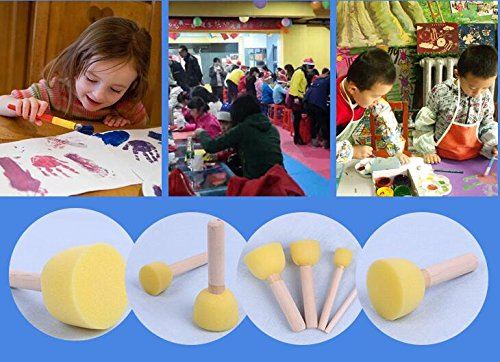 20-Pieces Assorted Size Round Sponges Brush Set Paint Tools For Kids by