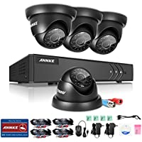 ANNKE Security Cameras System Smart HD 1080P Lite 4+1 Channels DVR Recorder and (4) 720P HD Outdoor Dome Camera, All-weather Adaptation, Email Alert with Images, Mobile App: ANNKE View, NO HDD