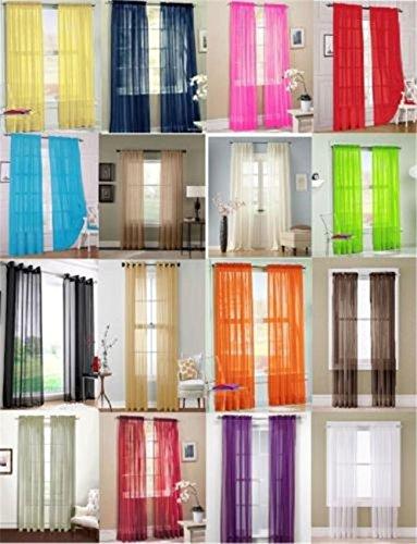 Valances Colors Floral Tulle Voile Door Window Curtain Drape Panel Sheer (medium purple)