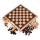Deluxe Wooden Chess, Checker and Backgammon Set, Brown