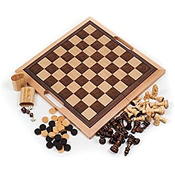 Deluxe Wooden Chess Checker And Backgammon