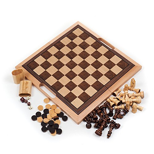Deluxe Chess Board Wood - Trademark Games Deluxe Wooden Chess, Checker and Backgammon Set, Brown