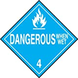 Accuform Signs MPL402VP100 Plastic Hazard Class 4 DOT Placard, Legend ''DANGEROUS WHEN WET 4'' with Graphic, 10-3/4'' Width x 10-3/4'' Length, White on Blue (Pack of 100)