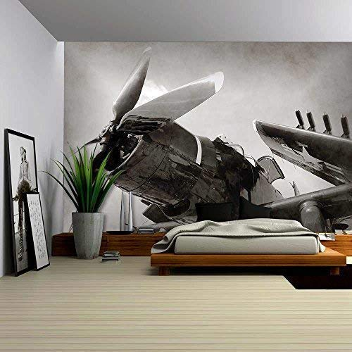 wall26 - World War Ii Era Navy Fighter Plane with Folded Wings - Removable Wall Mural | Self-Adhesive Large Wallpaper - 100x144 inches