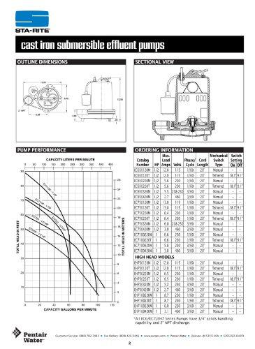 Pentair Sta-Rite EC650120T-01 EC4-Series Tethered Float Switch Continuous Duty Effluent Pump, 1/2 HP, 115-Volt, 1-Phase - Duty Effluent Pump