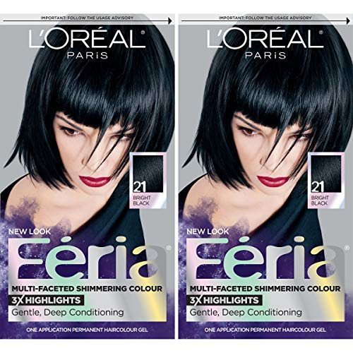 L'Oréal Paris Feria Multi-Faceted Shimmering Permanent Hair Color, 21 Starry Night, 2 COUNT Hair Dye (Best Bright Color Hair Dye For Dark Hair)