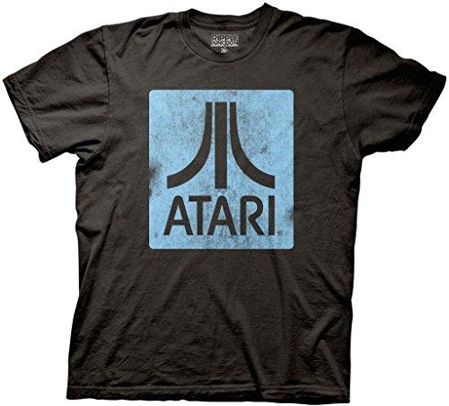 Atari Classic Logo Square Adult Black T-Shirt (Adult Large)