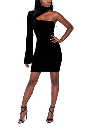 shekiss Womens Sexy Velvet One Shoulder Long Sleeve Bodycon Club Midi Dress - Black - Large