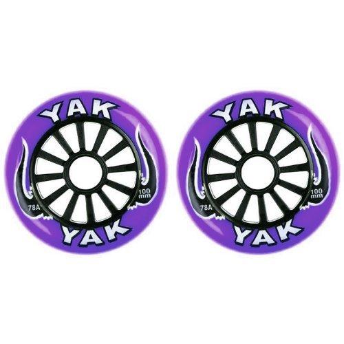 YAK キックボード用ウィール 100mm x 78a(Soft)前後Set (Purple on Black)