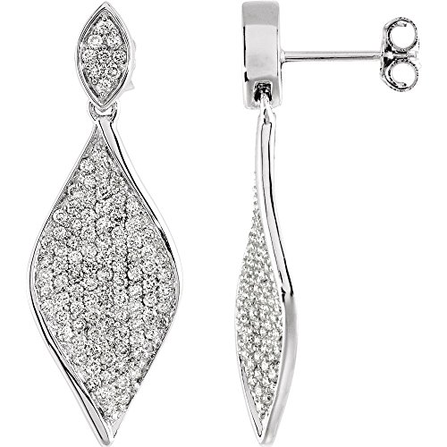 (Jewels By Lux 14k White Gold Pair 1 1/5 Ct Tw Polished Diamond Earrings)