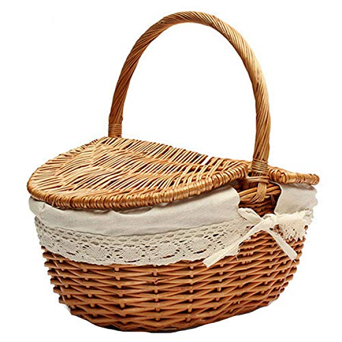 S/L Size Picnic Basket Hand Made Wicker Bags Camping Picnicbasket Shopping Storage Picnic Food Basket Woven Fruit Storage Basket, S (Buy Baskets Wicker Australia)
