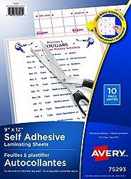 """Avery Self-Adhesive Laminating Sheets, 9"""" x 12"""", Permanent Adhesive, 10 Clear Laminating Shee"""