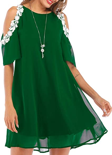 Femme Femmes Manches 3//4 Froid Épaule HI LO Dress Loose Fit Casual Baggy Top
