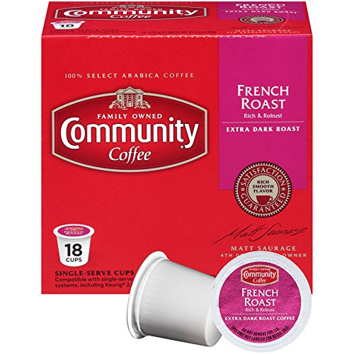 Community Coffee French Roast Extra Dark Single Serve 18 Ct Box, Compatible with Keurig 2.0 K Cup Brewers, Full Body Rich Robust Taste, 100% Arabica Coffee Beans
