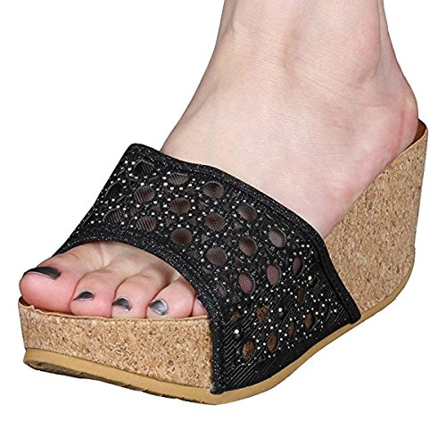 ion Various Cork Wedge Slide On Platform Open Toe Sandals,Color:BlackB,Size:5 ()