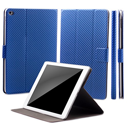 Apple iPad Mini 4 Case | 360° Rotating Stand | Carbon blue | iCues Manzano Cover | other Leather - and color variations available | Smart Wallet Flip Thin Ultra Slim