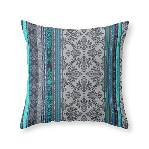 Teal, Aqua & Grey Vintage Bohemian Wallpaper Stripes Throw Pillow Indoor Cover 18