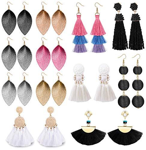 LOLIAS 12 Pairs Dangle Earring Tassel Thread Earrings Leather Teardrop Drop Earring Set for Women Girls Statement Fashion Jewelry ()