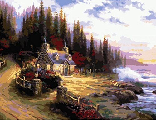 - DIY Painting Cottage by The Sea by Thomas Kinkade by Number Kits Oil Painting Home Decoration Abstract 16x20 inch Dream Beach (Framed)