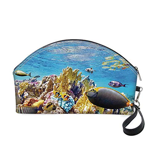 - Ocean Small portable cosmetic bag,Tropical Exotic Coral Reefs Fish School Jellyfish Underwater Wild Marine Life Theme for Women,10.8