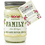 Scentiments FAMILY Gift Candle Cinnamon Scented Fragrance 16oz
