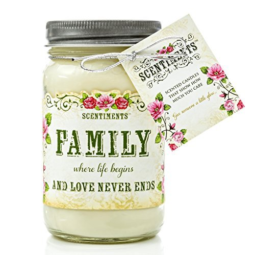 Scentiments FAMILY Gift Candle Cinnamon Scented Fragrance 16oz -