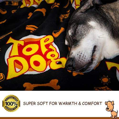 Deluxe Dog Blanket, 39x59'', Large, Super Soft Fleece, ''Top Dog'' Design, Machine-Washable, Perfect Gift for Dogs & Dog Lovers by Best of Breed Pet Care (Image #1)