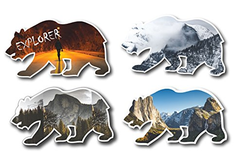 Half Dome Yosemite Valley Cali Bear Sticker Pack (4 Pack) Waterproof Vinyl STICKER for snowboards, cars, laptops, journals or walls -