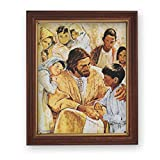 Gerffert Collection Jesus Christ is Love Framed Portrait Print, 13 Inch (Wood Tone Finish Frame)