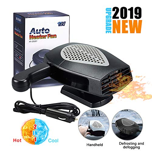?2019 New Upgrade?Portable Car Heater,Auto Heater Fan,Car Windshield Defogger Defroster,2 in1 Fast Heating or Cooling Fan,12V 150W Auto Ceramic Heater Fan 3-Outlet Plug in Cig Lighter (Black)