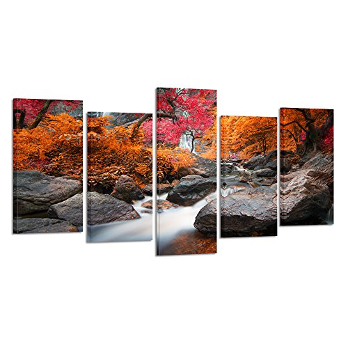 Kreative Arts - Canvas Prints Wall Art Autumn Landscape Mountains 5 Panel Nature Picture Printed on Canvas Modern Wall Decor Stretched Gallery Wrap Giclee Print (Large Size: L 60'' x H 32'') (Print Art Canvas Deco)