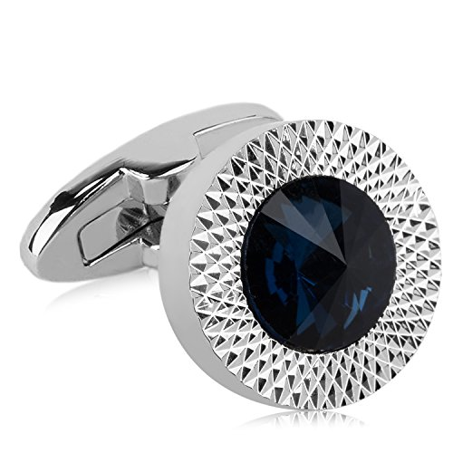 (VanGoddy Navy Blue Round Crystal Cufflinks with Presentation Gift Box )