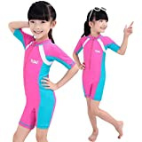 Fortuning's JDS Sun UV protective rash guard one-piece swimming suit short sleeve swimwear for girls