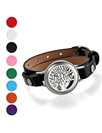 Cupimatch Mens Womens Essential Oil Diffuser Tree of Life Locket Bracelet Multi-layer Leather Wrap Cuff Bangle