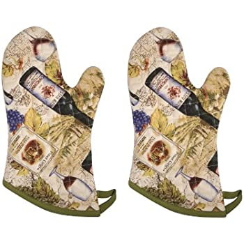 Now Designs Basic Oven Mitt, Wine Labels - 6.5 x 13 in | Set of 2