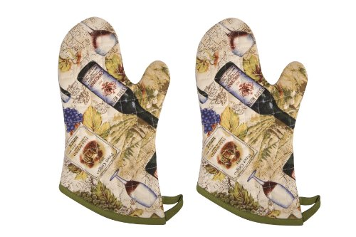 Now Designs Basic Oven Mitts, Wine Labels, Set of 2 (Designs Oven Mitt Set)