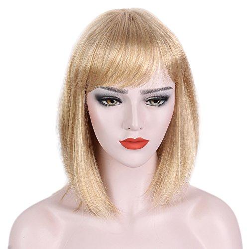 STfantasy Bob Wig Bangs Blonde Ombre Short Straight