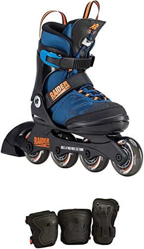 K2 Skate Youth Raider Pro Pack Inline Skates, Blue Orange, 11-2
